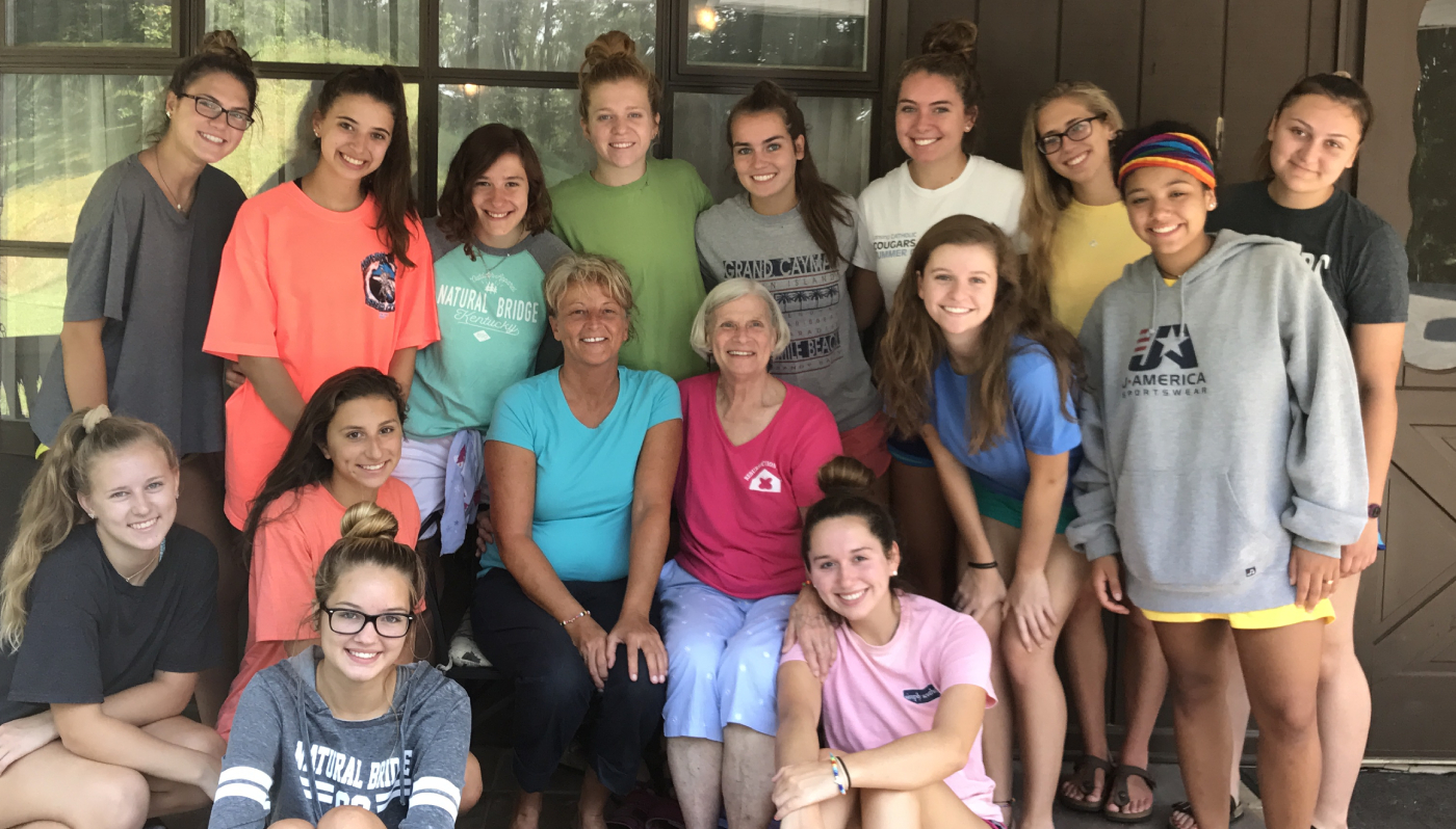 Sr Mary Kay Drouin with LCHS students on mission trip in Kentucky.